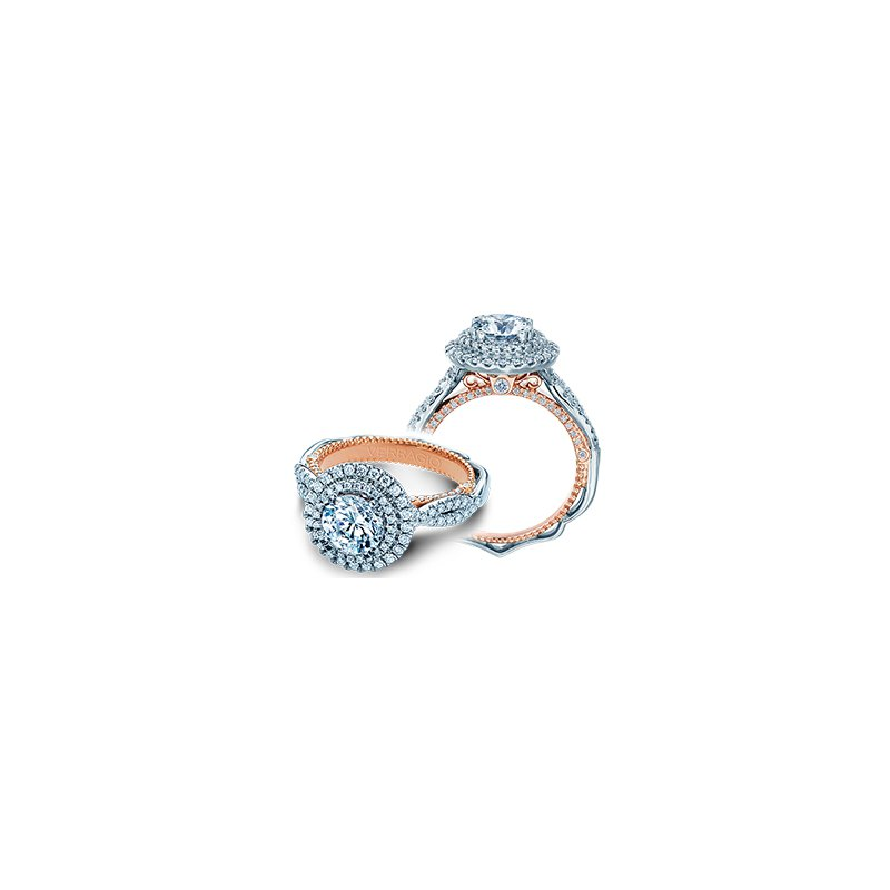 Verragio Verragio Venetian 5066 R-2WR - 18k White and Rose Gold Round Double Halo Engagement Ring