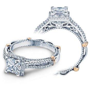 Verragio Parisian-110P - 14k White and Rose Gold Diamond Princess Cut Halo Engagement Ring by Verragio