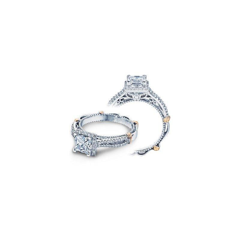 Verragio Verragio Parisian-110P - 14k White and Rose Gold Diamond Princess Cut Halo Engagement Ring by Verragio