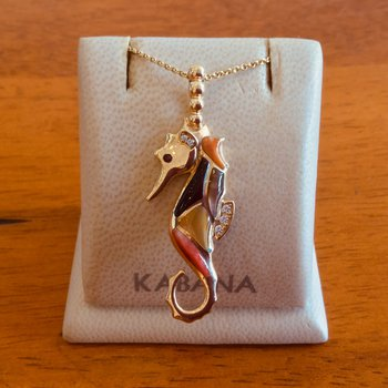 14k Yellow Gold Seahorse Pendant by Kabana with Multi Mother of Pearl and Diamond