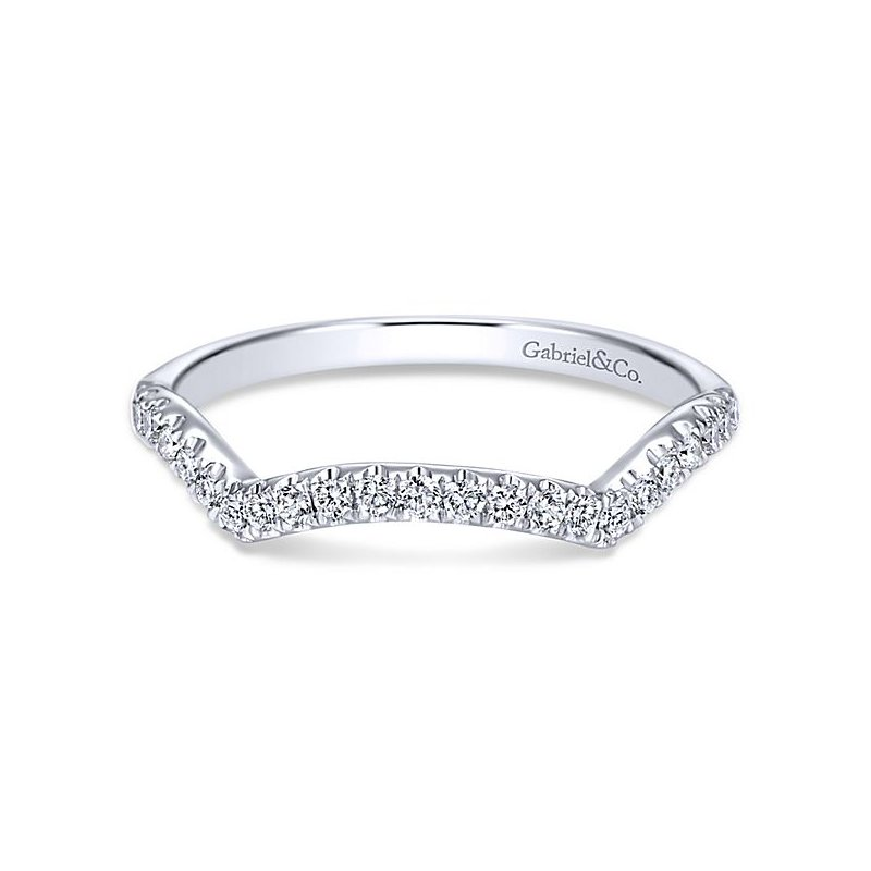 Gabriel NY Gabriel NY 14k White Gold Contemporary Curved Diamond Wedding Band Style #WB7517W44JJ
