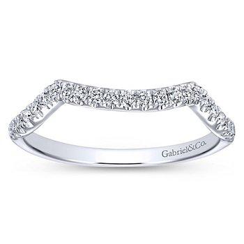 Gabriel NY 14k White Gold Contemporary Curved Diamond Wedding Band Style #WB7517W44JJ