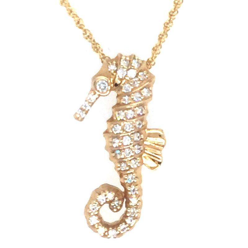 Sealife Jewelry 14k Yellow Gold Diamond Seahorse Pendant