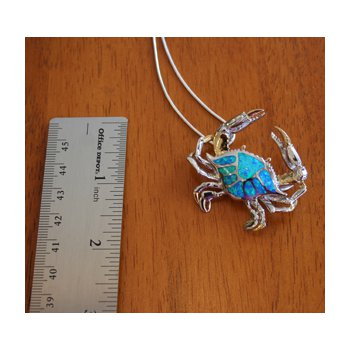 Sterling Silver and 18k Gold Plated Crab Pendant with Kyocera Lab Created Synthetic Opal.