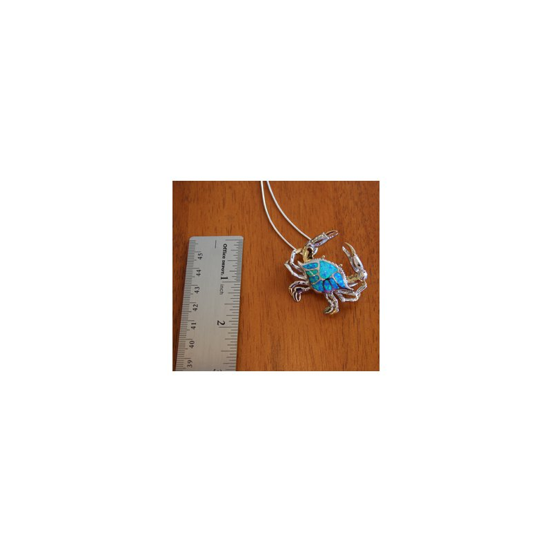 Kovel Sealife Sterling Silver and 18k Gold Plated Crab Pendant with Kyocera Lab Created Synthetic Opal.