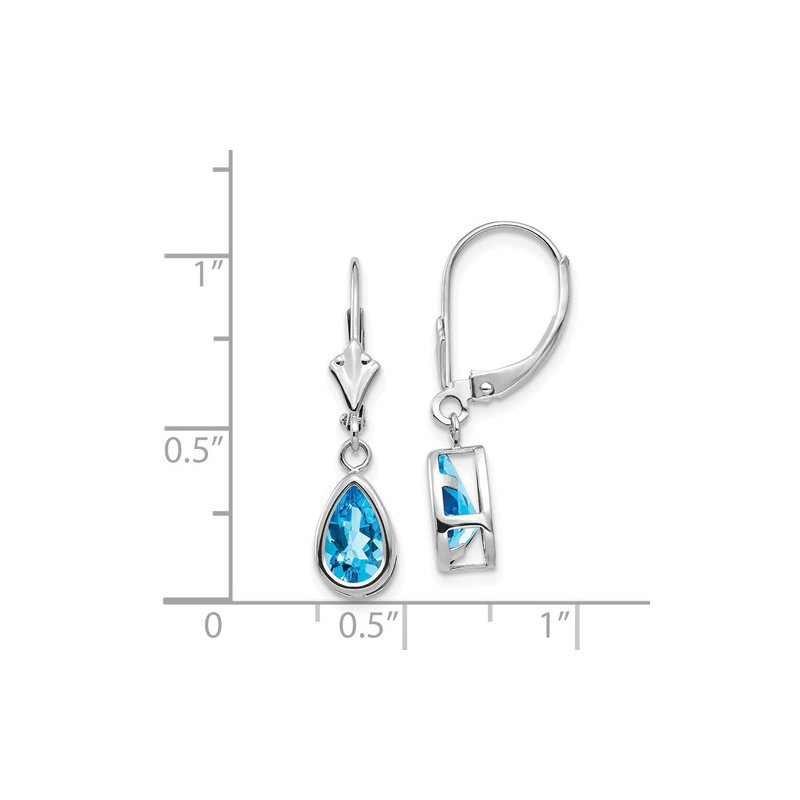 Signature Collection 14k White Gold 8x5mm Pear Blue Topaz Leverback Earrings