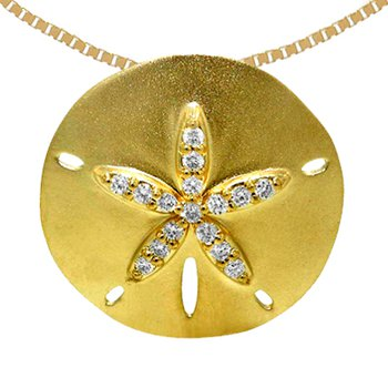 14k Yellow Gold Diamond Sand Dollar Pendant