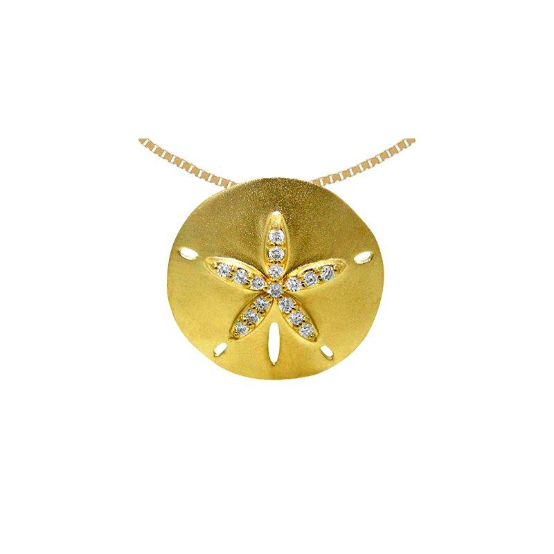 Sealife Jewelry 14k Yellow Gold Diamond Sand Dollar Pendant
