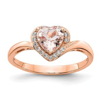 From the Promise Ring Collection 14k Rose Gold Heart Shaped Morganite and Diamond Ring