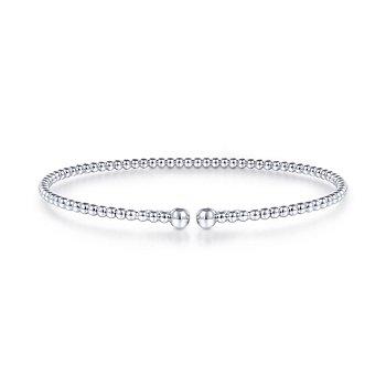 "Gabriel NY 14k White Gold 6.5"" Beaded Flexible Bangle Bracelet"