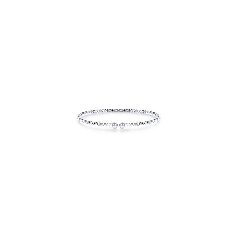 "Signature Collection Gabriel NY 14k White Gold 6.5"" Beaded Flexible Bangle Bracelet"