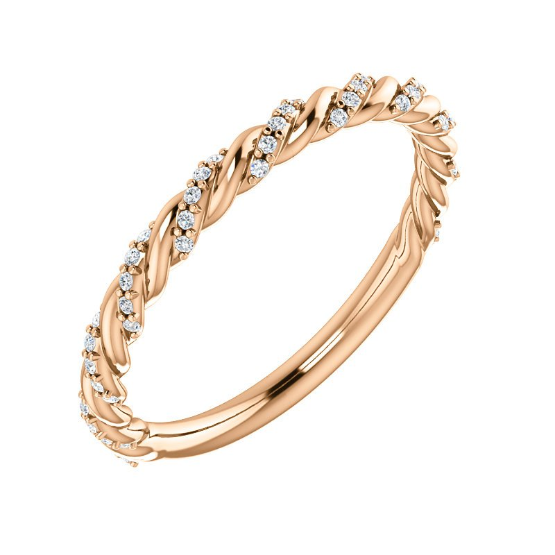 Signature Collection 14k Rose Gold Twist Rope Diamond Wedding or Anniversary Band - #42479