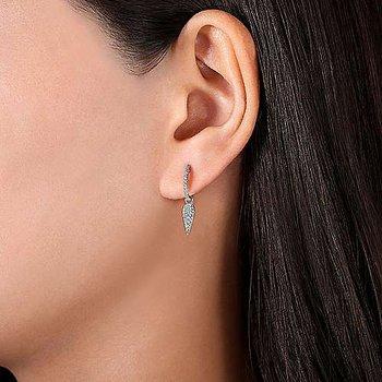 14k White Gold Pear Shaped 10mm Diamond Huggie Drop Earrings by Gabriel NY