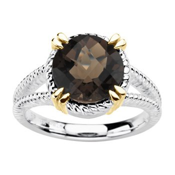 Genuine Checkerboard Smoky Quartz Ring