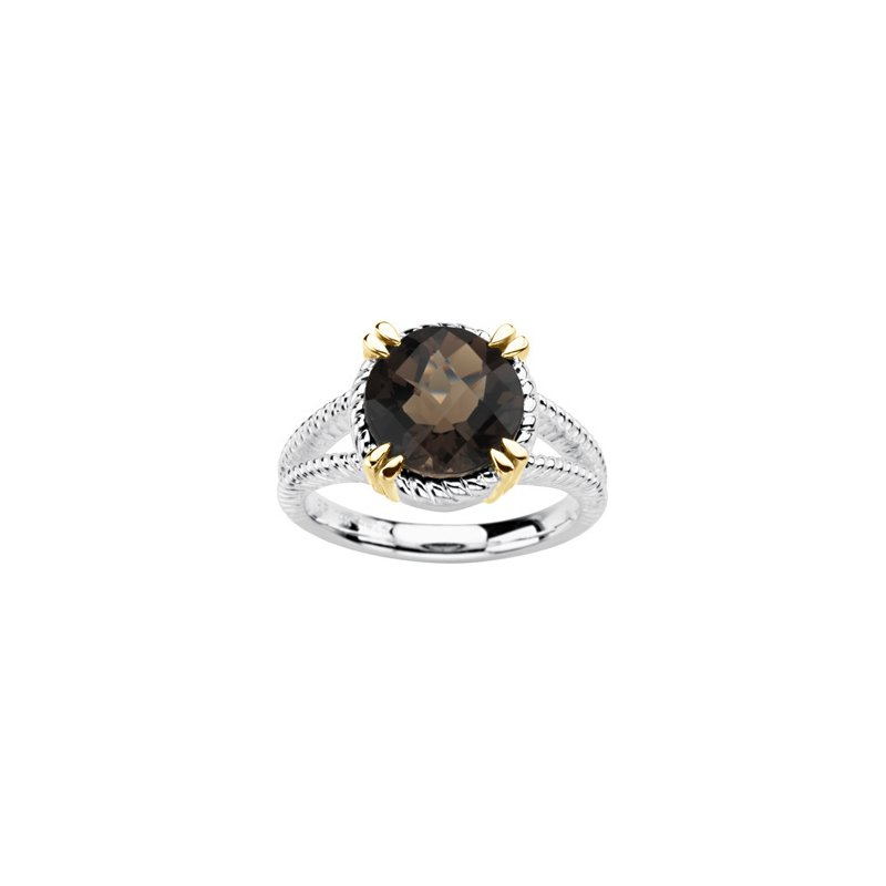 Signature Collection Genuine Checkerboard Smoky Quartz Ring