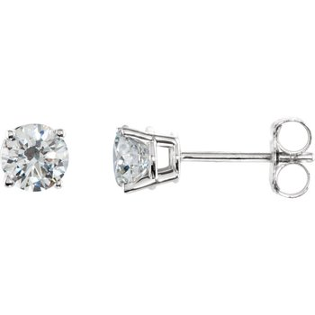 14k White Gold 4-prong Diamond Stud Earrings - 0.75ctw