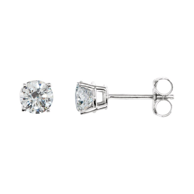 Signature Collection 14k White Gold 4-prong Diamond Stud Earrings - 0.75ctw