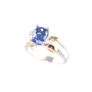 Genuine Tanzanite and Diamond Ring in 18k White and Yellow Gold