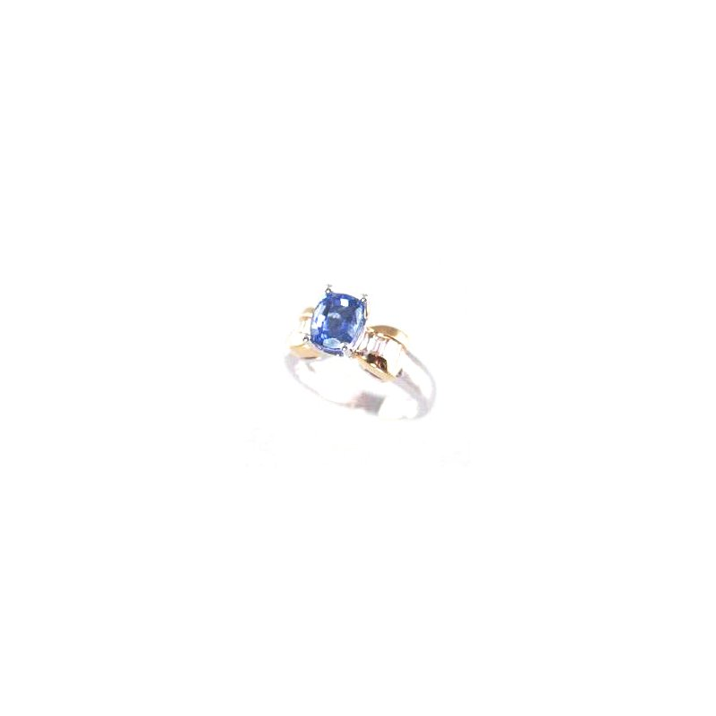 Signature Collection Genuine Tanzanite and Diamond Ring in 18k White and Yellow Gold