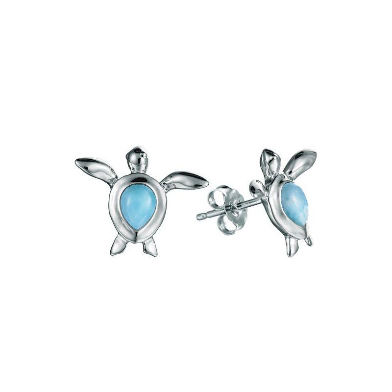 Alamea Larimar  Sterling Silver Turtle Earrings with Larimar