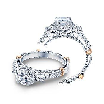 Verragio Parisian D-122R - 14k White and Rose Gold Diamond Halo Engagement Ring by Verragio