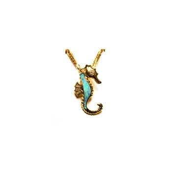 Kabana Australian Opal Inlay & Diamond Seahorse Pendant