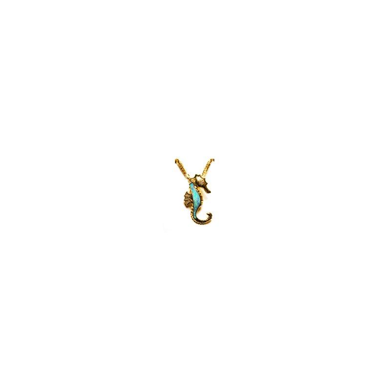 Kabana Jewelry Kabana Australian Opal Inlay & Diamond Seahorse Pendant