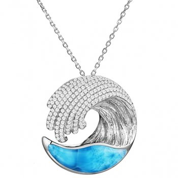 Alamea Award Winning Wave Pendant in 14k White Gold with Larimar and Diamonds