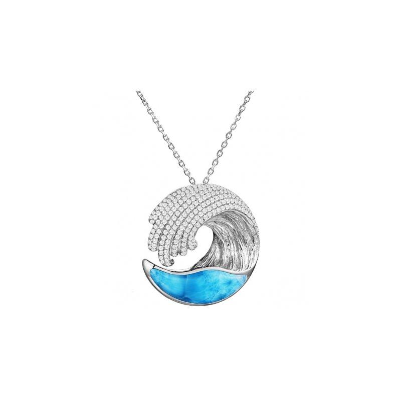 Sealife Jewelry Alamea Award Winning Wave Pendant in 14k White Gold with Larimar and Diamonds