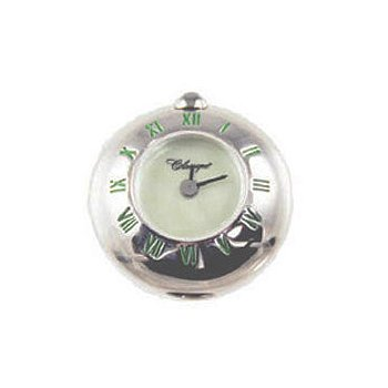 Sterling Silver Bead Watch with Green Enamel Roman Numerals and Green Mother of Pearl