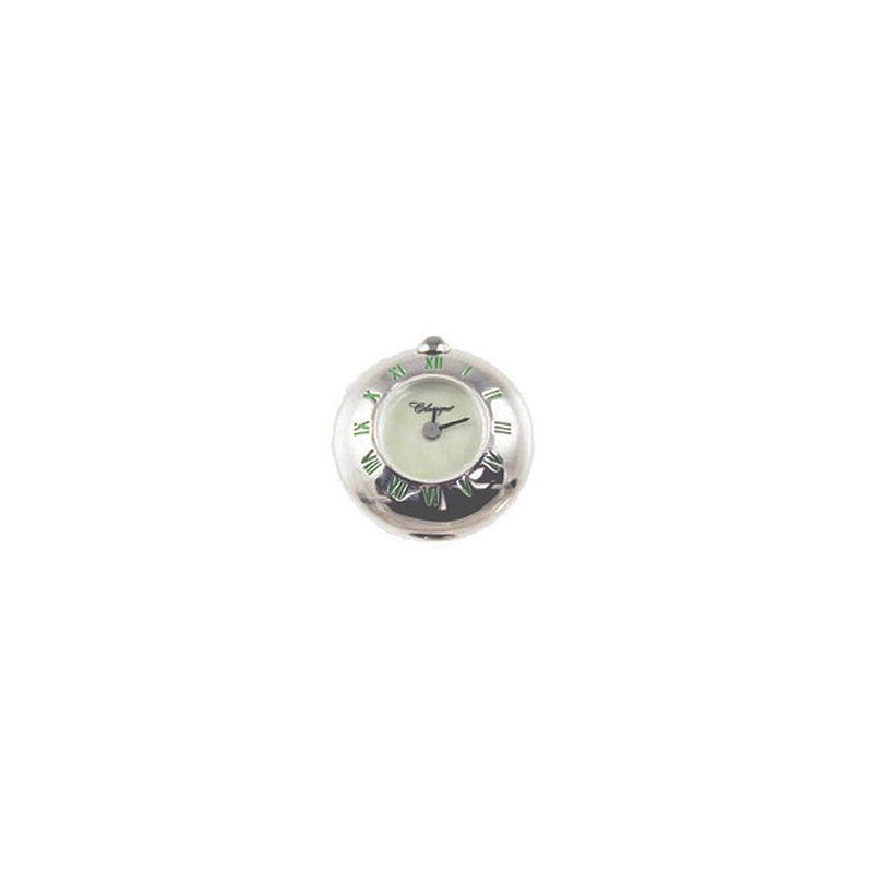 Swiss Watches Sterling Silver Bead Watch with Green Enamel Roman Numerals and Green Mother of Pearl