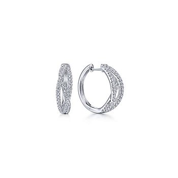 14k White Gold Diamond Huggie Earrings by Gabriel NY - Style #EG13713W