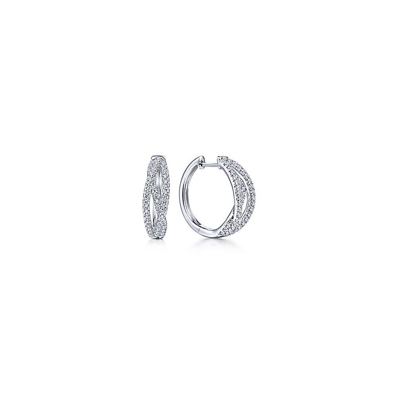 Signature Collection 14k White Gold Diamond Huggie Earrings by Gabriel NY - Style #EG13713W