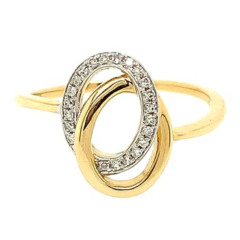 14k Yellow & White Gold Interlocking Diamond Ring