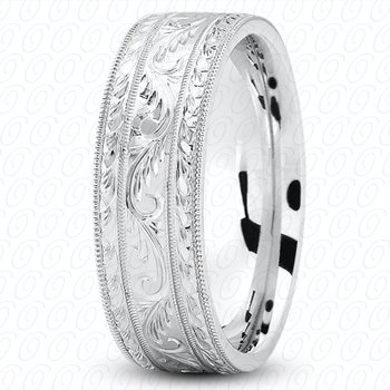 Unique Settings M475 - W - Y - 14k White and Yellow Gold Fancy Carved Hand Engraved 7mm Men's Wedding Band