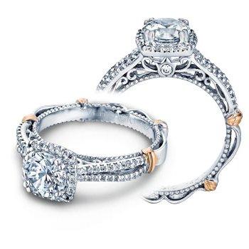 Verragio Parisian-110CU - 14k White and Rose Gold Diamond Cushion Halo Engagement Ring by Verragio