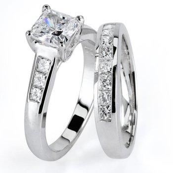 1 ct Center Princess Cut Diamond Set