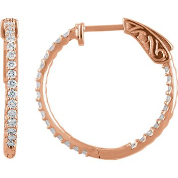 Diamond Inside Out Hoop Earrings .75ctw in 14k Rose Gold