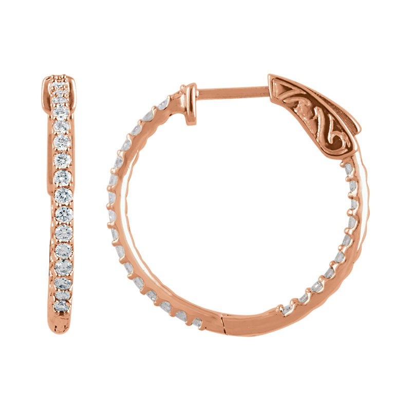 Signature Collection Diamond Inside Out Hoop Earrings .75ctw in 14k Rose Gold