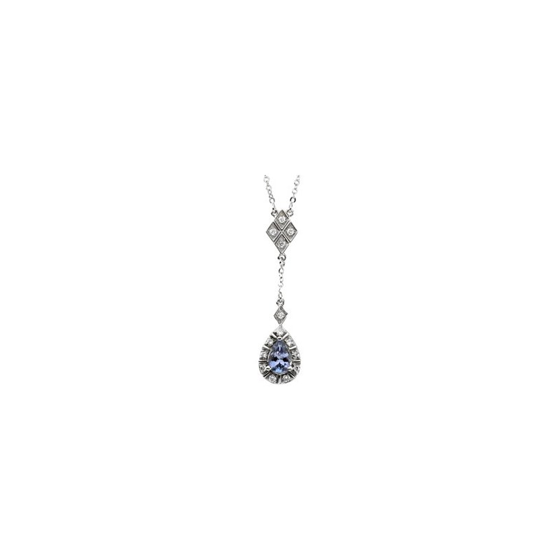 Signature Collection Genuine Tanzanite & Diamond Necklace