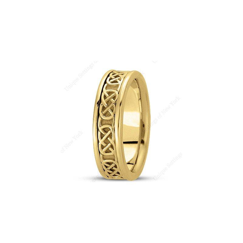 Unique Settings Unique Settings - HM221 - Y - 14k Yellow Gold Handmade Celtic Design Men's Wedding Band