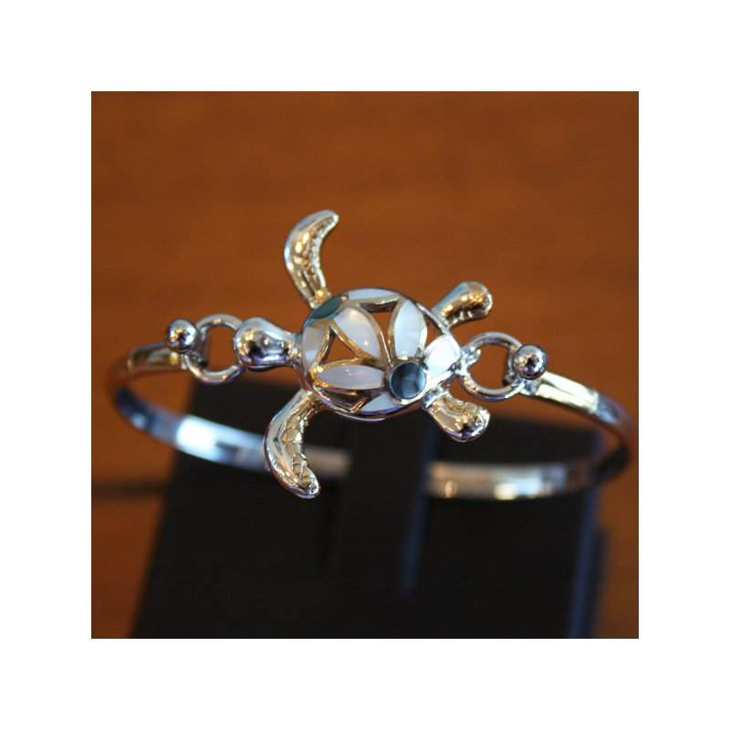 Kovel Sealife Sterling Silver and Gold Plate Turtle Bangle Topper with White Mother of Pearl