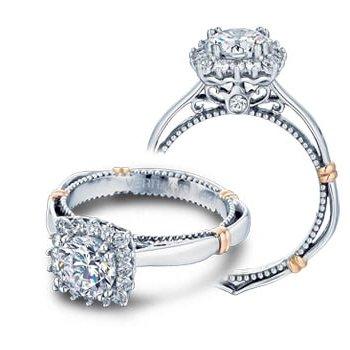Verragio Parisian-112CU - 14k White and Rose Gold Diamond Halo Engagement Ring by Verragio