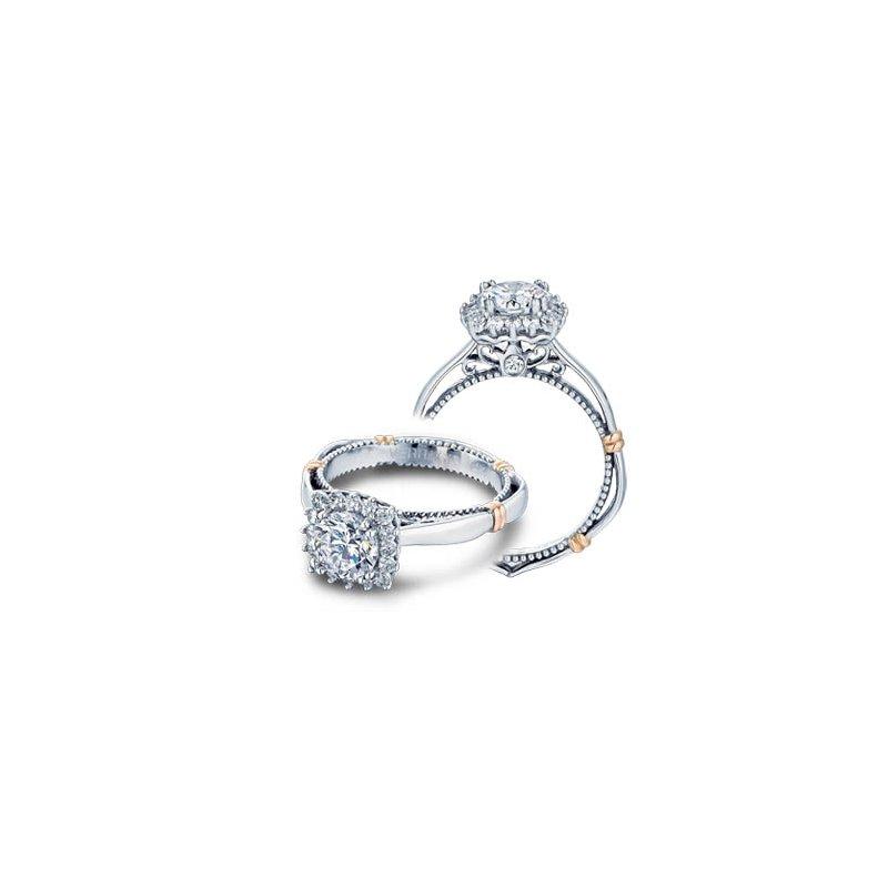 Verragio Verragio Parisian-112CU - 14k White and Rose Gold Diamond Halo Engagement Ring by Verragio