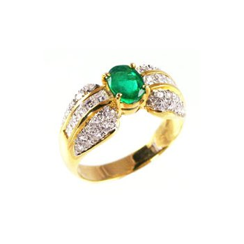 Genuine Emerald and Diamond Ring in 18k Yellow Gold - 4542