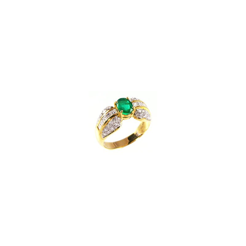 Signature Collection Genuine Emerald and Diamond Ring in 18k Yellow Gold - 4542
