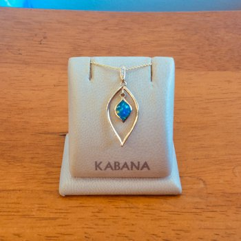 Kabana 14k Yellow Gold Delicate Australian Opal and Diamond Pendant