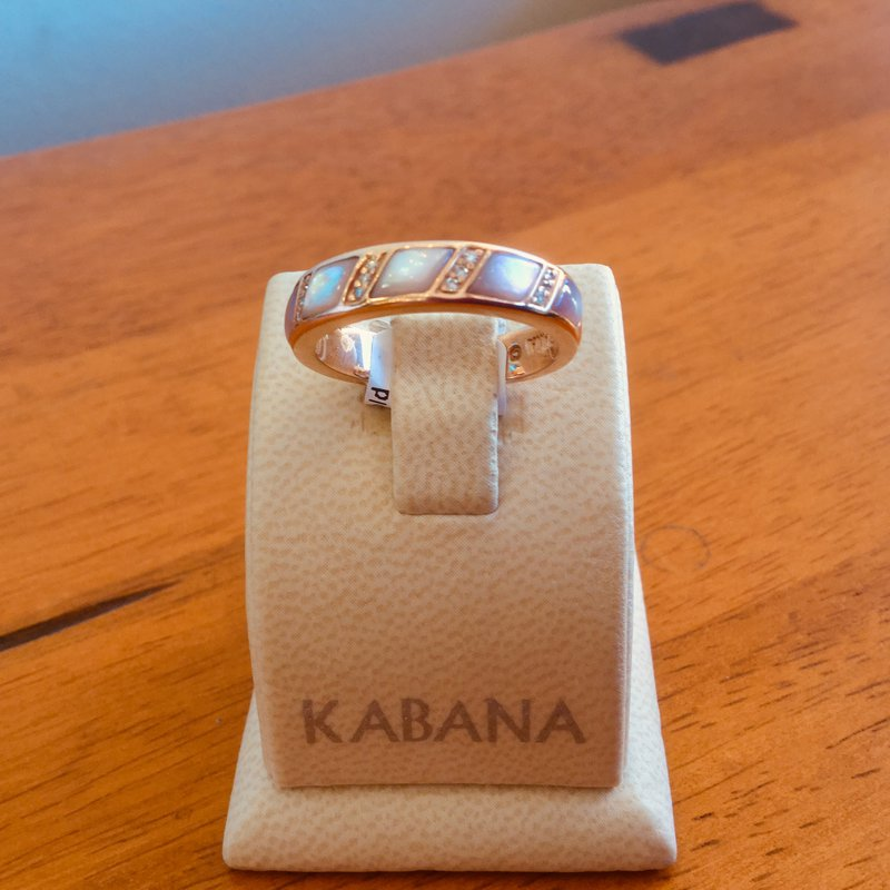 Kabana Jewelry Kabana 14k Rose Gold Band with Pink Mother of Pearl and Diamond - #34583
