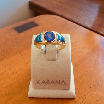 Kabana 18k Yellow Gold Australian Opal, Round Tanzanite and Diamond Ring - #35889