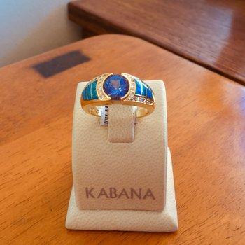 Kabana 18k Yellow Gold Australian Opal, Round Tanzanite and Diamond Ring - #35889